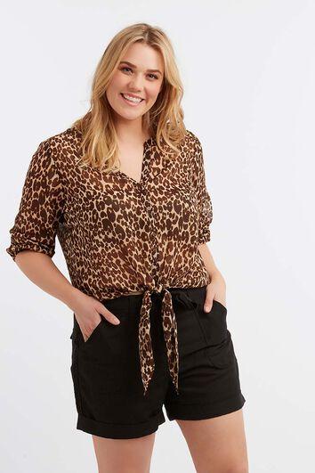 Transparente Bluse mit Leoparden-Print