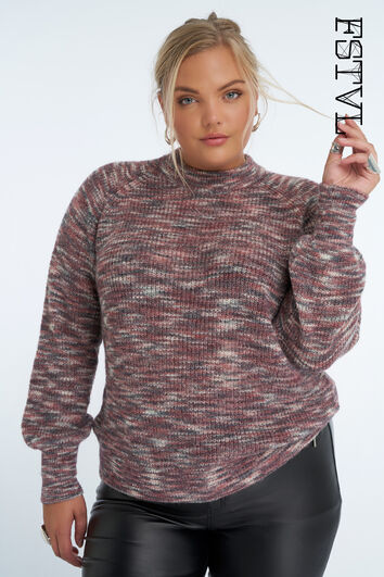 Sweatshirt mit kleinem Rollkragen