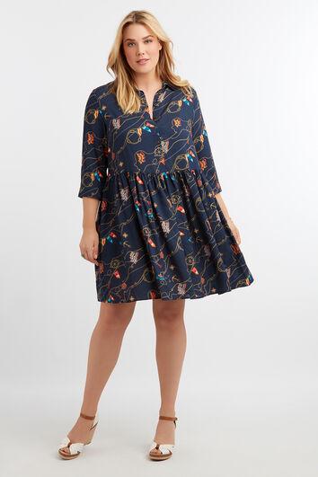 Tunika-Kleid mit Print