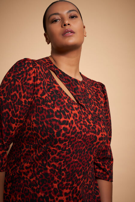 Figurbetontes Kleid mit Verzierung und Leopard-Print