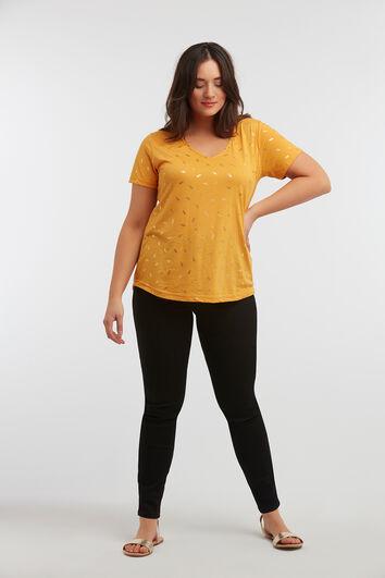 T-Shirt mit goldenem Folien-Print