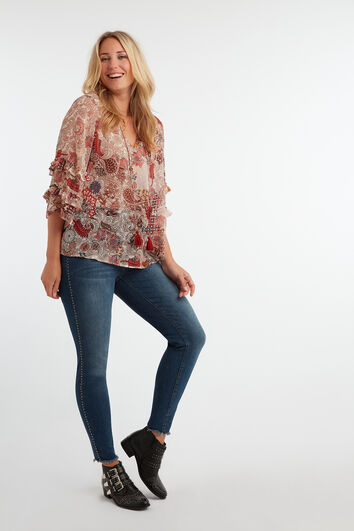 Skinny-Leg Jeans mit Ziernieten