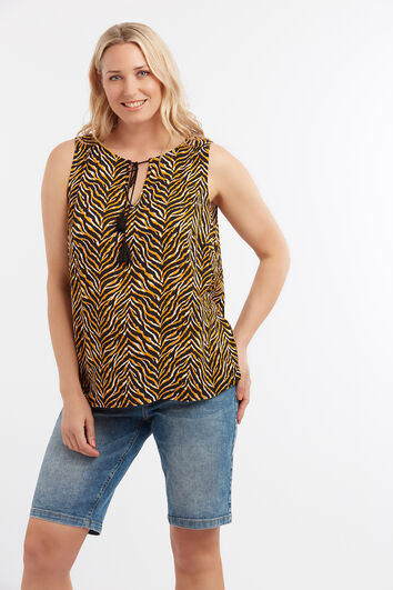 Ärmellose Bluse mit Animal-Print