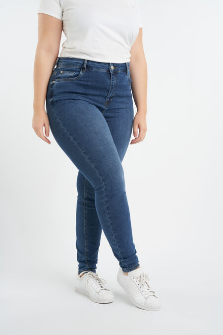 Skinny-Leg-Jeans mit hoher Taille CHERRY