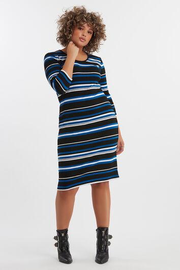 Geripptes Kleid mit Querstreifen