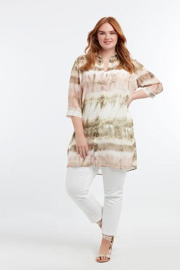 Durchsichtige Bluse mit Batik-Print