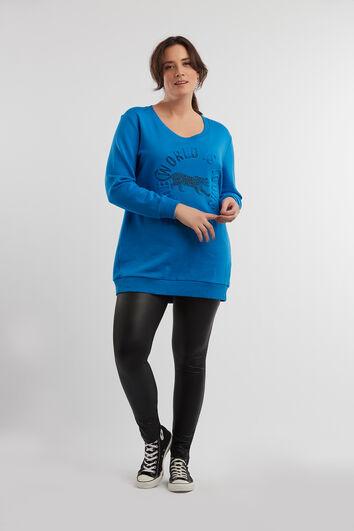 Langer Sweater mit geprägtem Artwork