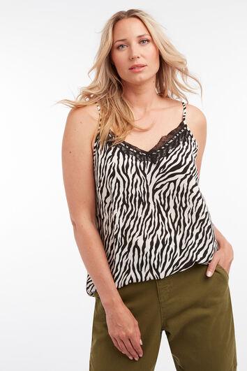 Ärmellose Bluse mit Zebra-Motiv