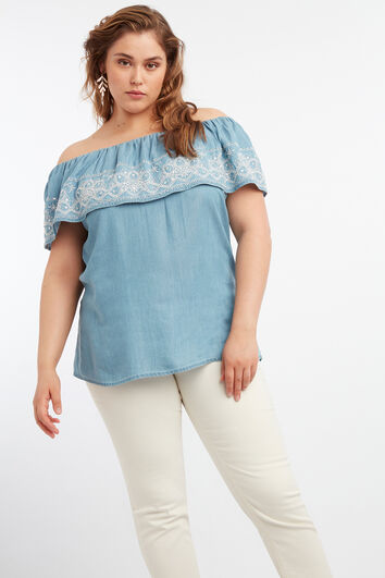 Schulterfreie Bluse aus Tencel