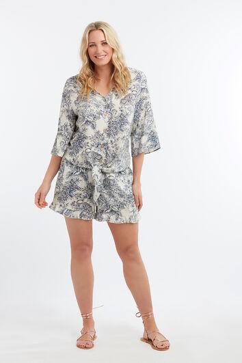 Viskose-Shorts mit Print und Rüschen