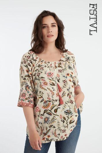 Bohemien-Bluse mit Print