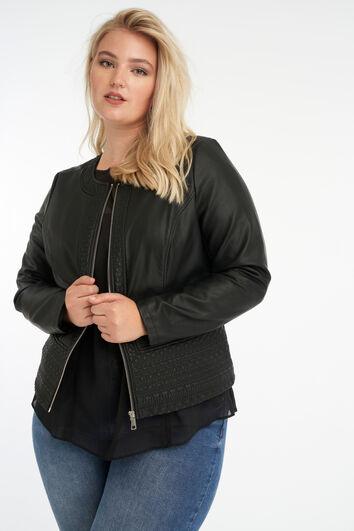 Biker-Jacke aus Kunstleder mit rundem Kragen