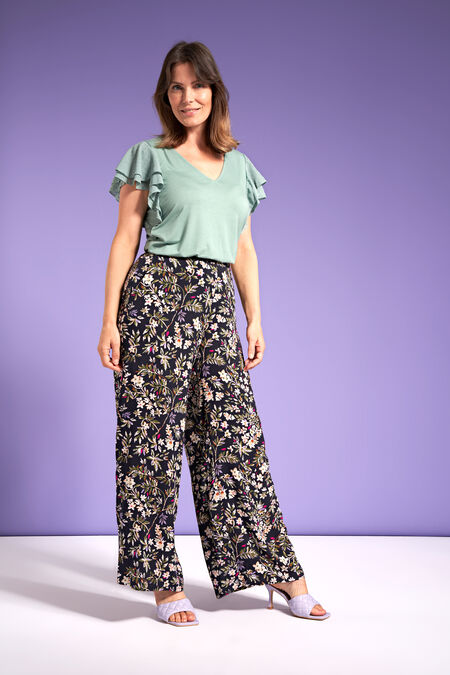 Weit geschnittene Hose mit Print