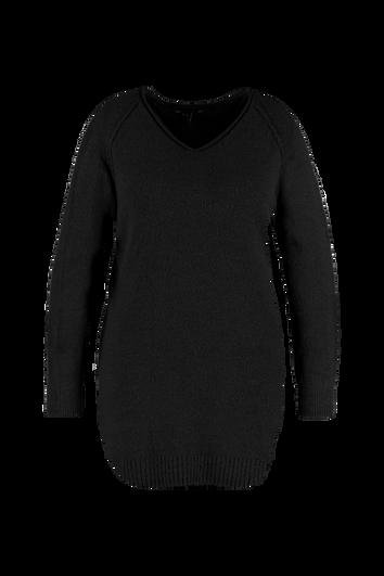 Sweater-Kleid mit V-Ausschnitt