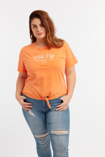 Kurzes T-Shirt mit Knoten-Detail