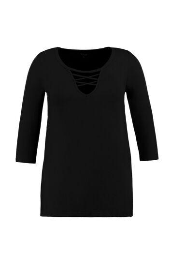 Shirt mit V-Schlitz-Ausschnitt und gekreuzten Bändern