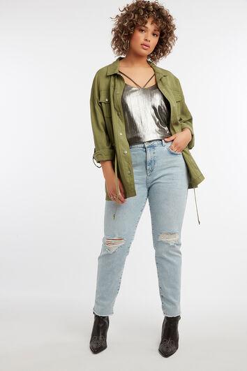 Enganliegende IRIS-Jeans mit Used Look