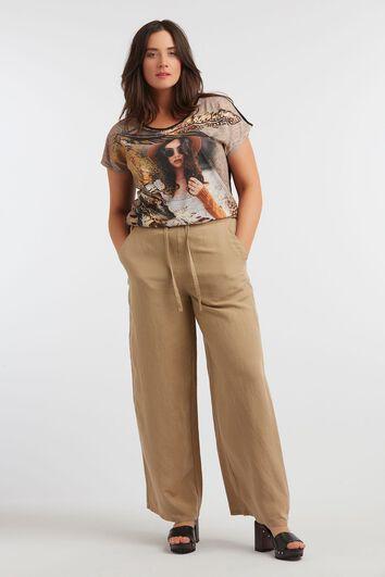 Leinen-Mix-Hose mit weitem Bein