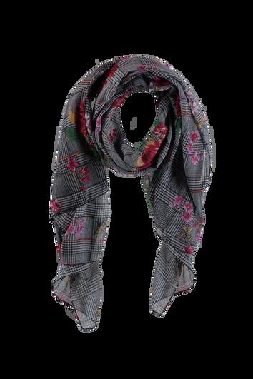 Schal mit Blumen- und Karo-Print