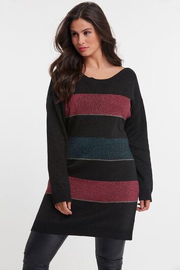 Langer gestreifter Lurex-Pullover
