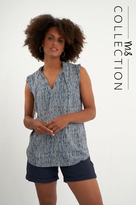 Ärmellose Bluse mit Zebra-Print