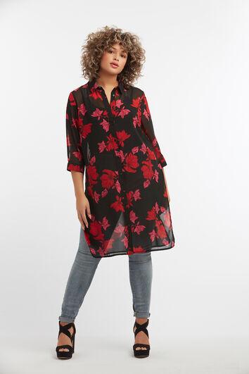 Durchsichtige Bluse mit floralem Print
