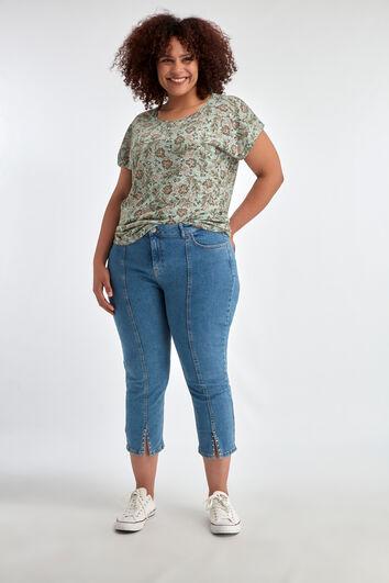 7/8 Skinny-Jeans mit Ziernieten und Schlitz