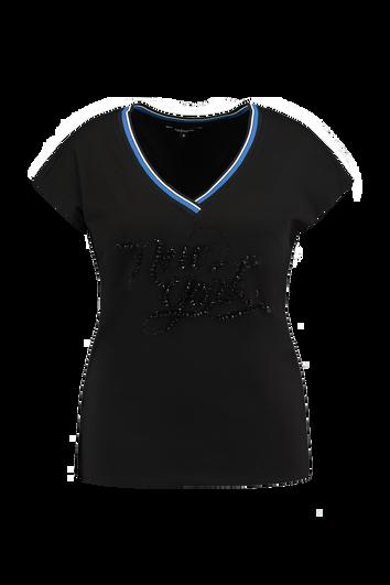 T-Shirt mit schwarzen Strasssteinen