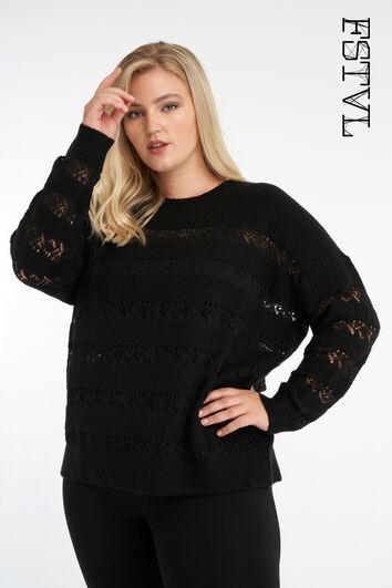Sweatshirt mit Lochmuster-Ärmeln