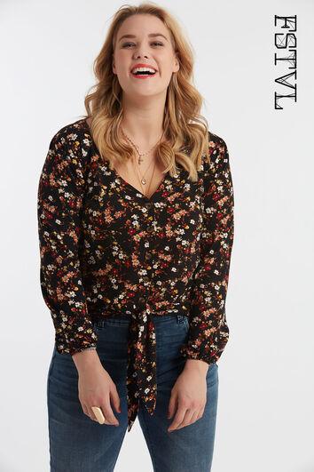 Bluse mit Knöpfen und floralem Print