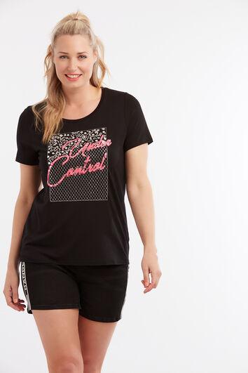T-Shirt mit Strasssteinen und Stickerei