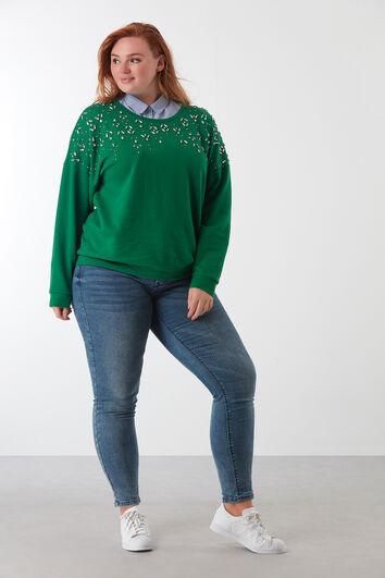Sweatshirt mit Kunst-Diamanten