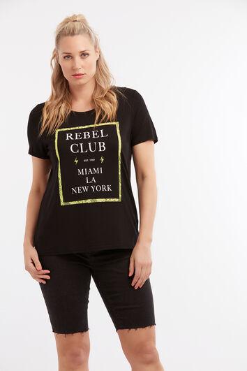 T-Shirt mit Text-Print und Spitze