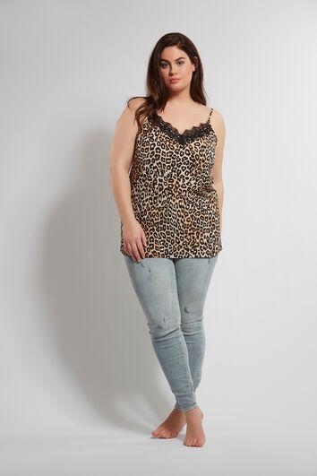 Ärmellose Bluse mit Leoparden-Print und Spitze