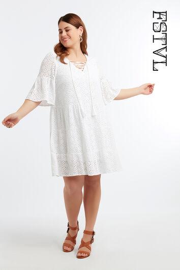Tunika-Kleid mit Lochstickerei