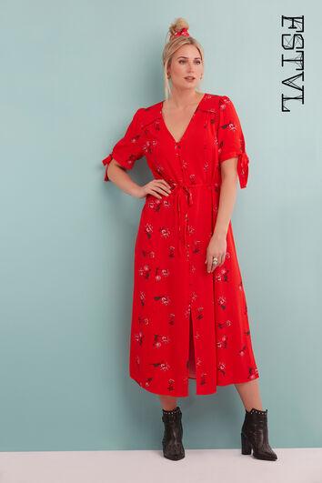 Florales Button-down-Kleid