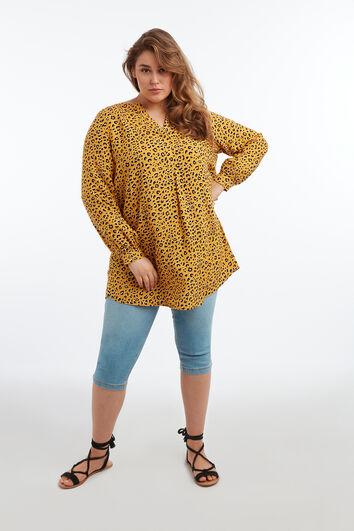 Tunika-Bluse mit Animal-Print