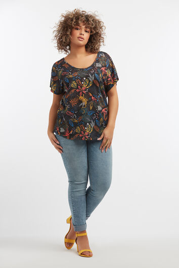 Shirt mit Tropical-Print und Rücken-Detail