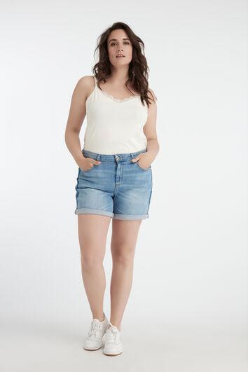 Denim-Shorts mit Kontrast-Streifen