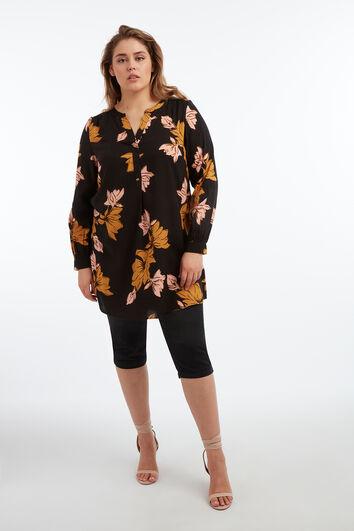 Tunika-Bluse mit floralem Print