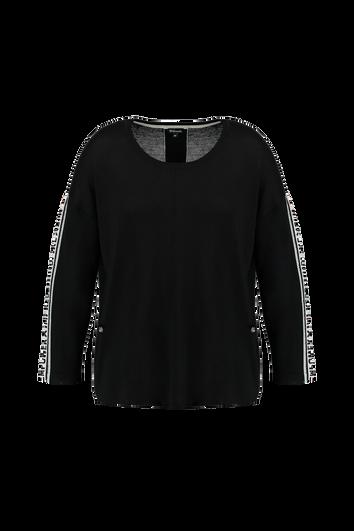 Feinstrick-Pullover mit sportivem Streifen