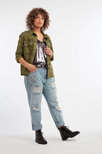 Boyfriend-Jeans mit Strass