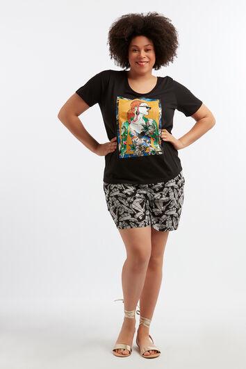 Viskose-Shorts mit floralem Print