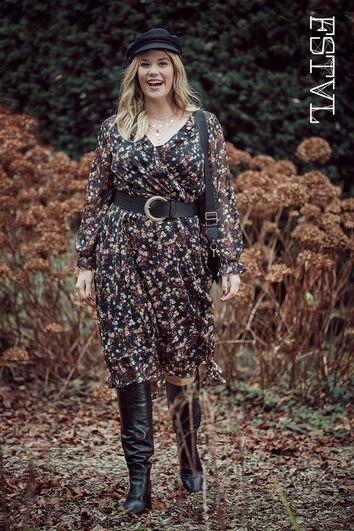 Wickel-Kleid mit floralem Print