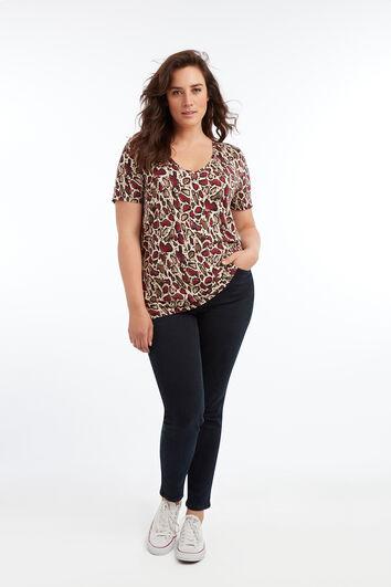 T-Shirt mit V-Ausschnitt und Print