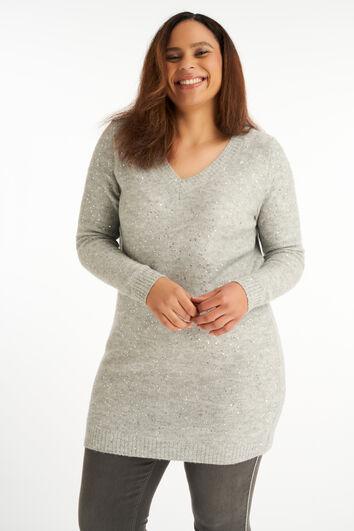 Lange Pullover mit Pailletten